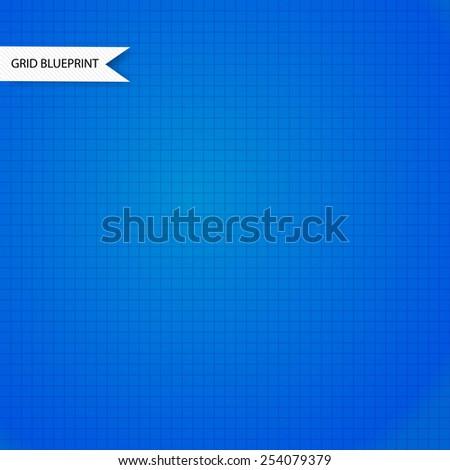 Blue millimeter paper background. Square grid background. Vector illustration. - stock vector