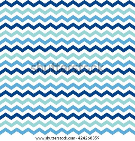 blue, mint & white chevron pattern, seamless texture background - stock vector