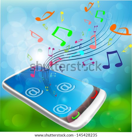 Blue mobile phone music background with musical notes streaming out of smart phone - stock vector