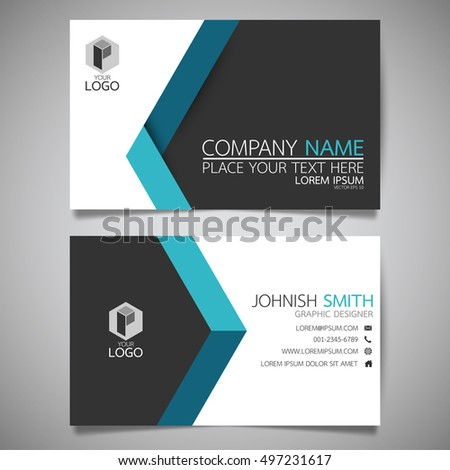 blue modern creative business card name stock vector 497231617