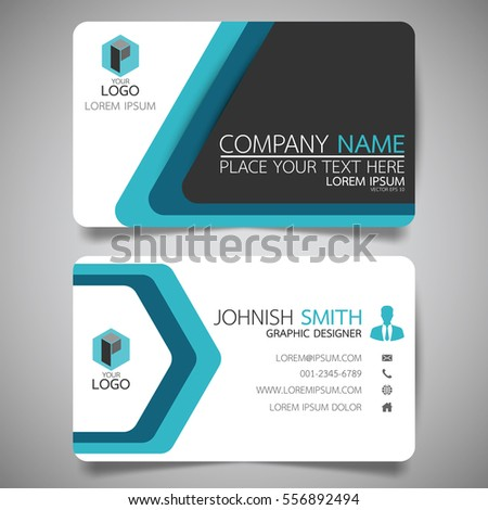 blue modern creative business card name stock vector 556892494