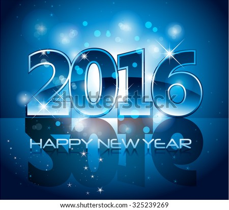 Blue modern glossy 2016 happy new year background with sparkle lights and reflection - stock vector