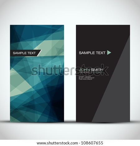 Blue Modern Vertical Business Card Set | EPS10 Vector Design - stock vector