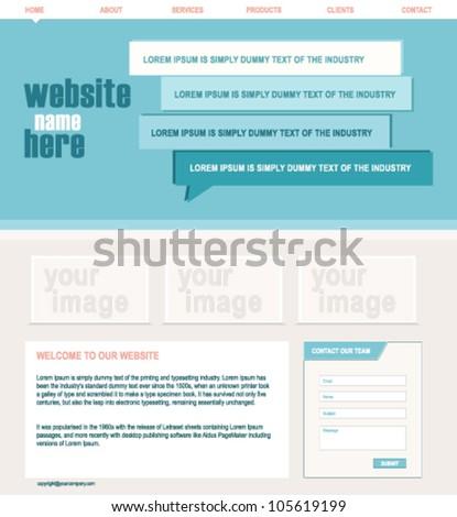 blue modern website design - stock vector