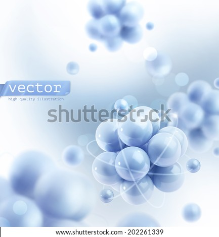Blue molecules, vector background - stock vector