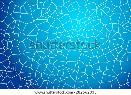Blue mosaic background looking like water caustics in a sunny day - stock vector