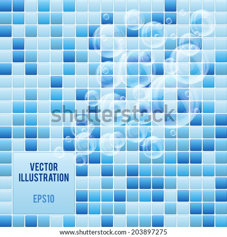 Blue mosaic tiles pattern background of spa with soap bubbles. Vector Illustration. - stock vector