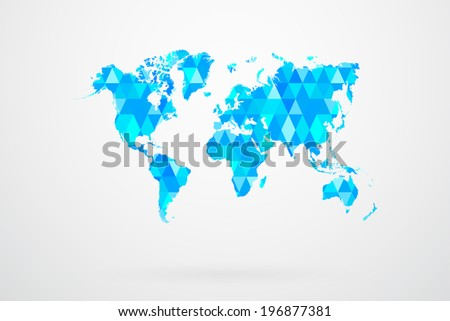 Blue Mosaic Tiles World Map Vector Abstract - stock vector