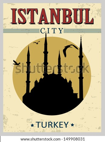 Blue mosque from Istanbul in vitage style poster, vector illustration - stock vector