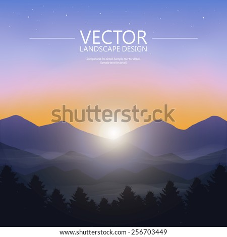 Blue mountain sunset with pine forest. Nature landscape vector background.