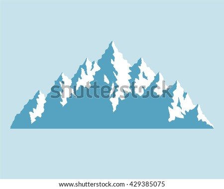 Blue Mountains. Mountains vector emblem, symbol. Silhouettes of the mountains. Mountain adventure and expedition logo badge. Snowy mountains. Iceberg. High sharp mountain peaks. Snow-covered mountains - stock vector