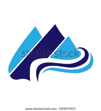 Blue Mountains web icon vector logo template - stock vector