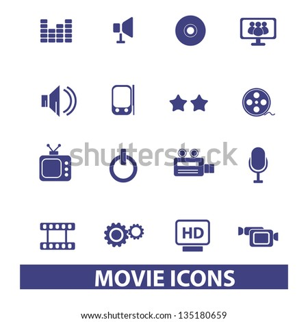 blue movie, cinema, media icons, sign set, vector