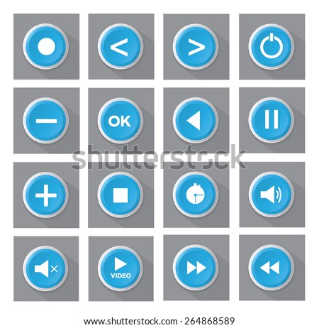 Blue multimedia buttons set - stock vector