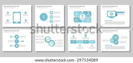 Blue multipurpose presentation template brochure flyer flat design set for marketing and advertising 2 - stock vector