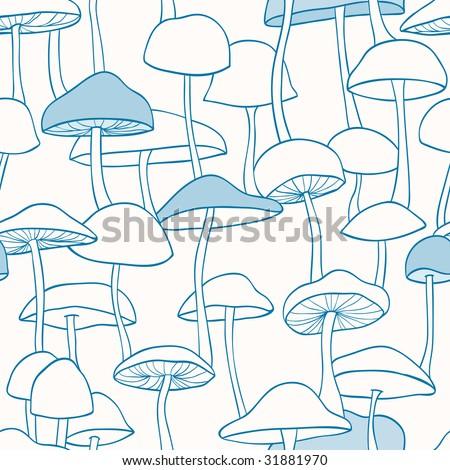 Blue Mushroom Pattern - stock vector