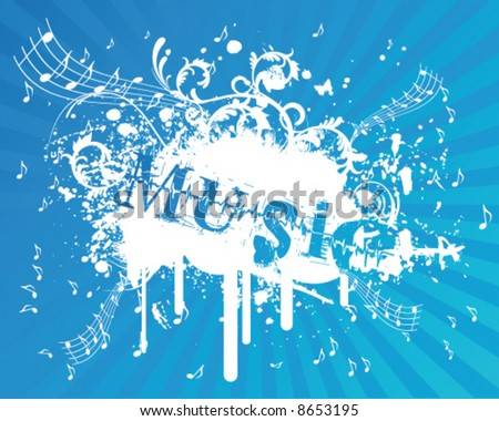 Blue Music Flyer - stock vector