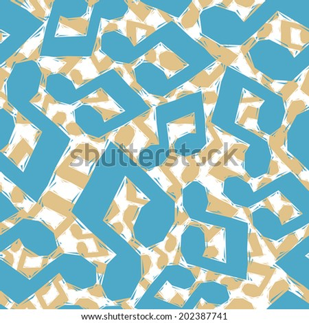 Blue musical notes seamless pattern, geometric contemporary style repeating vector background, best for use as web backgrounds and wallpapers. - stock vector