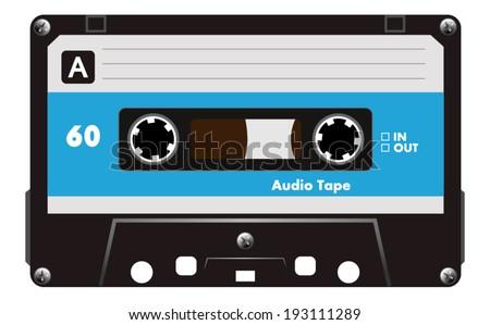 Blue musiccasette, cassette tape, vector art image illustration, isolated on white background, eps10  - stock vector