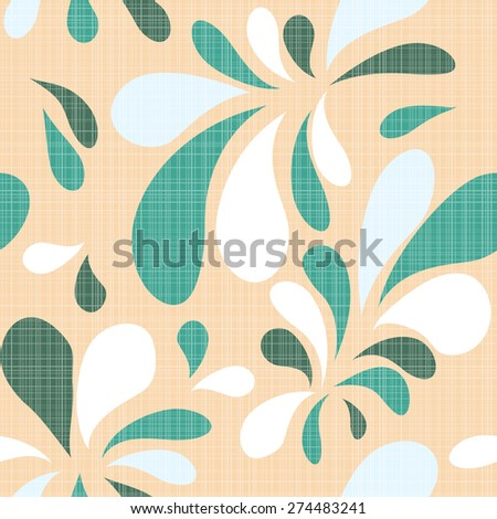 blue natural floral seamless texture on a beige background - stock vector