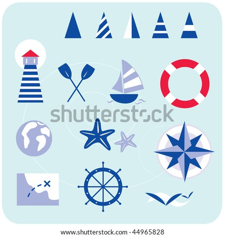 Blue nautical and sailor icons. Stylized sailor and nautical icons. In trendy blue-red retro style with stripes. Lighthouse, boat, compass, map and other nautical elements. - stock vector