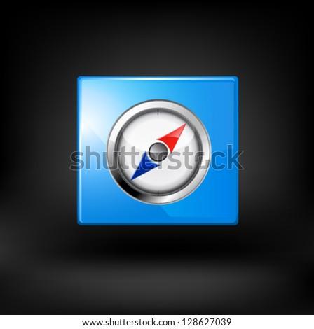 Blue navigation icon. Vector - stock vector