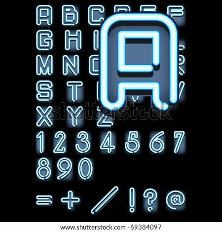 blue neon alphabet (each letter is on it's own tile so they can all be moved easily and the diffused glow behind moves with them, also the colors are global and can be easily changed) - stock vector