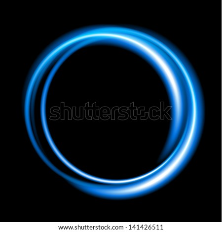 Blue neon circle background. Vector illustration EPS10 - stock vector