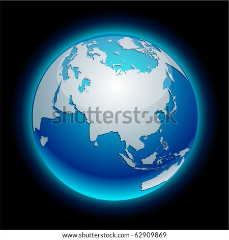 Blue neon high-detailed earth ball. Vector. - stock vector