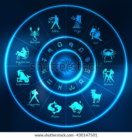 Blue neon horoscope circle.Circle with signs of zodiac.Vector illustration - stock vector