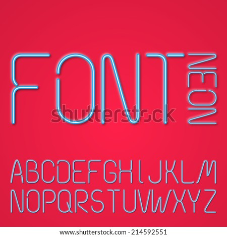 Blue Neon Letters, Alphabet On A Red Background - stock vector
