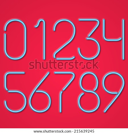 Blue Neon Numbers On A Red Background - stock vector