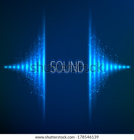 Blue neon stereo vector equalizer - stock vector