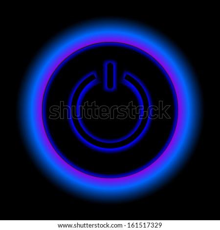 Blue neon vector button - stock vector