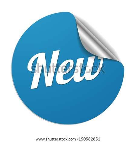 Blue new sticker - stock vector