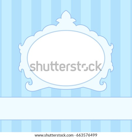 Blue newborn baby photo frame on a background of striped wallpaper background. Vector illustration boyish baroque style frames.