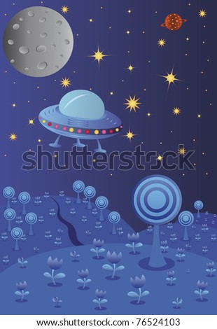 Blue night landscape with spaceship, vector illustration