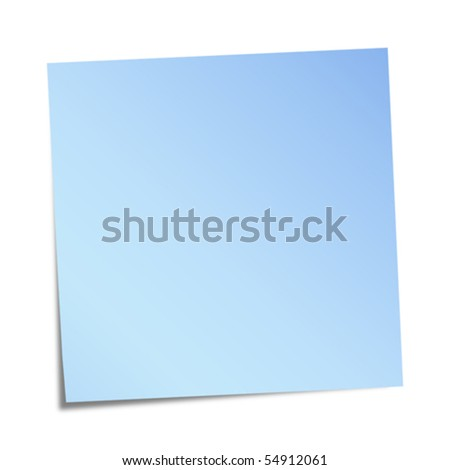 blue note paper on white background - stock vector
