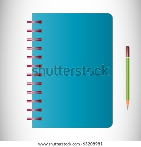 Blue Notebook and pencil Vector