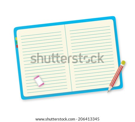 Blue notebook, red pencil and pink eraser, vector design on a white background.