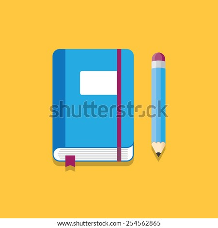 blue notebook with elastic band, bookmarks and pencil. Vector illustration. - stock vector