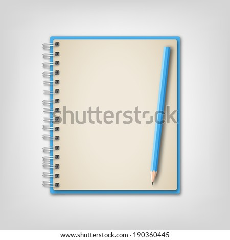 Blue notebook with pencil