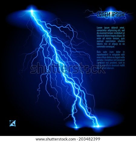 Blue oblique branchy lightning line. Illustration with space for text - stock vector