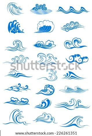 Blue ocean waves set curling and breaking, with swirls and in undulating patterns, for marine or nautical themed concepts, vector illustration isolated on white - stock vector