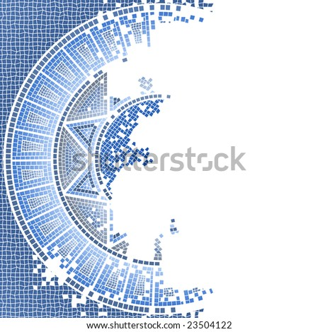 blue old mosaic vector background - stock vector