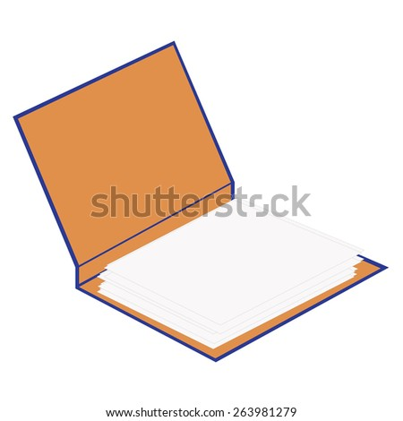 Blue opened cardboard folder with papers vector isolated, file folder, document case, block note - stock vector