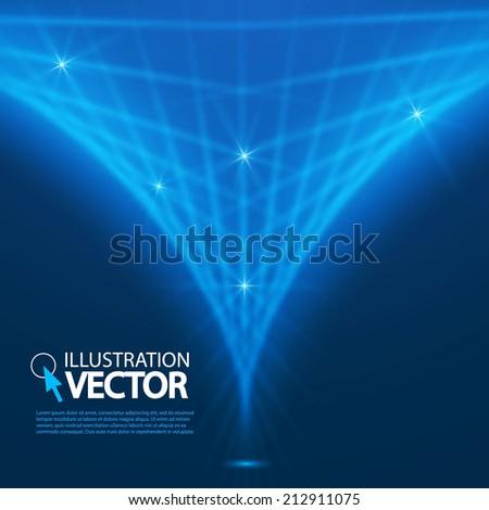 Blue Optical Fibers. Vector illustration  - stock vector