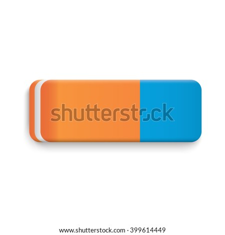 Blue Orange Rubber Eraser Realistic Vector.  - stock vector