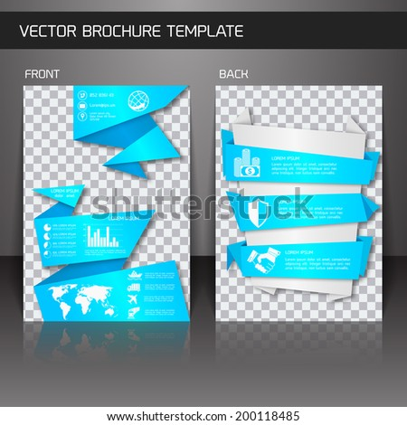 Blue origami business corporate design brochure flyer design template vector illustration - stock vector