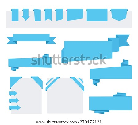 Blue Origami paper ribbons for sale and advertising. Flat design elements. Corner ribbon - stock vector
